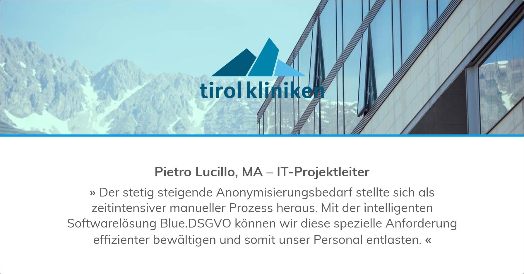 Tirol Kliniken with Blue.DSGVO